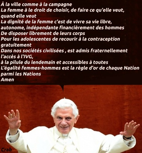 Benoît XVI,féministes,féminisme,religion