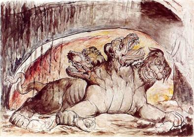 Cerbère dans une aquarelle de William Blake 2.jpg